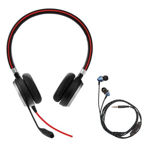 Jabra Evolve 75 Uc Stereo Wireless Bluetooth Headset: Jabra Evolve 40 UC Stereo With Wired Ear Buds Bundle