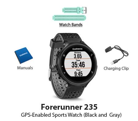 garmin forerunner 235 black and gray watch