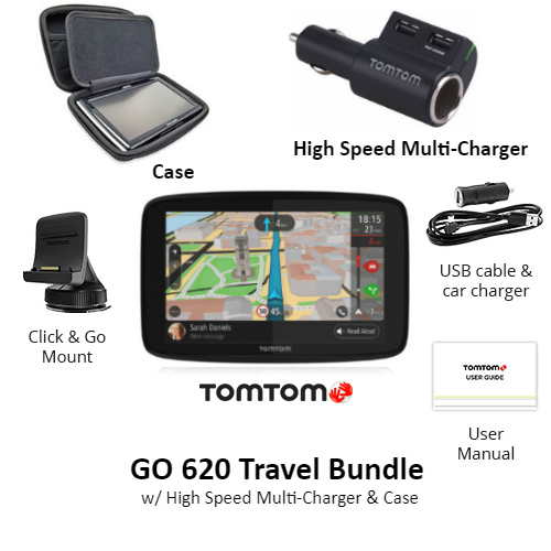 tomtom go 620 travel bundle w high speed multi charger protective case