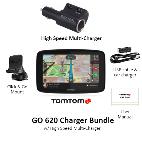 tomtom go 620 charger bundle w high speed multi charger
