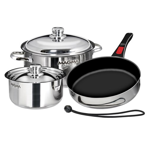 magma 7 piece professional series gourmet nesting stainless steel cookware set