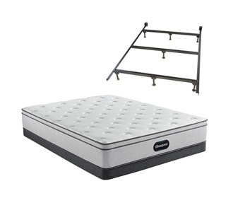 beautyrest br800 plush euro top full size mattress and low profile box spring set with bed frame