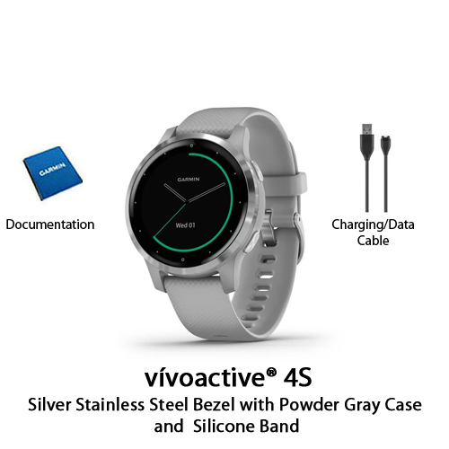 garmin vivoactive 4s powder gray with silver hardware