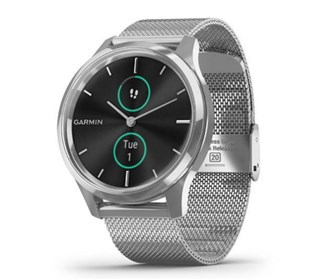 garmin vivomove luxe silver stainless steel case with milanese band