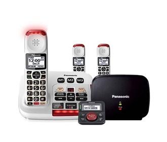 panasonic kx tgm420w plus 2 kx tgma44w with range extender and call blocker
