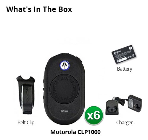 motorola clp1060 6 pack with bluetooth headset