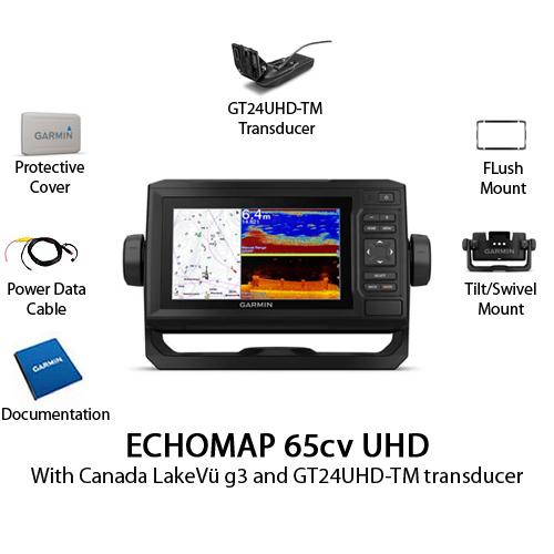 garmin echomap 65cv uhd with gt24uhd tm transducer