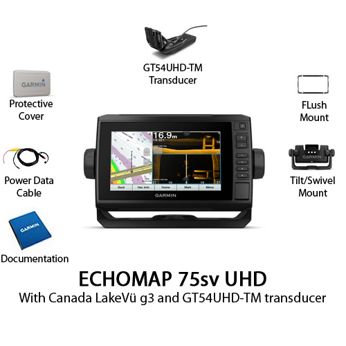garmin echomap 75sv uhd with gt54uhd tm transducer