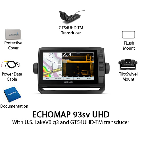 garmin echomap 93sv uhd with gt54uhd tm transducer