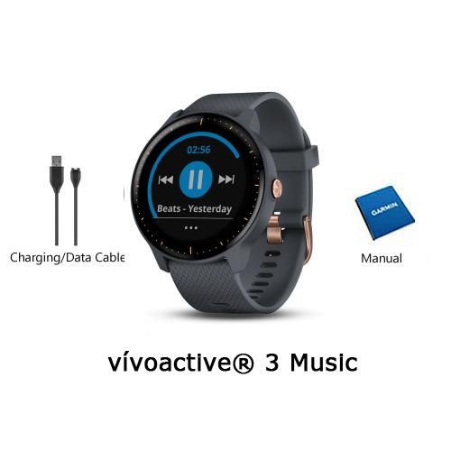 garmin vivoactive 3 music granite blue with rose gold hardware