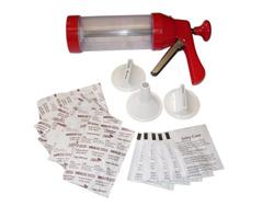 "Product # BJX-5 <ul> <li><span class=""blackbold"">Jerky Works Kit</span></li> <li>Large Jerky Gun</li> <li>See-through Meat Chamber</li> <li>3 Attachments</li> <li>Makes Strips, Stick or Double Strips</li> <li>5 Spice & Cure Packets</li> <li>Each Packet Flavors Up To 1lb. of Meat</li> </ul>"