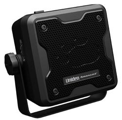 """<ul> <li>External Speaker</li> <li><span class=""""redbold"""">Max 15 Watts Input Power</span></li> <li>3.5 mm Right Angle Plug</li> <li>3 Inch Speaker Size</li> <li>8 Watt Amplifier</li> <li><span class=""""bluebold"""">Noise Blanker for Clear Audio</span></li> <li>10 Inch Cord Length</li> <li>Compatible w/ Uniden Scanners &amp; CB Radios </li> </ul>"""