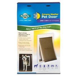 """<ul>   <li><span class=""""blackbold"""">PetSafe Extreme Weather Door&trade;</span>  <li>3-flap system offers protection from elements   <li>Paintable Plastic frame    <li>Snap-on closing panel included   <li>Fits door thickness 1-5/8"""" to 2-1/4""""  </ul>"""