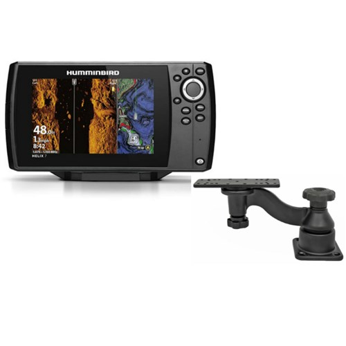 humminbird helix 7 chirp mega si gps g3 nav plus with ram mounts single swing arm mount