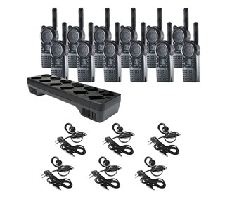 twelve cls1410 communication kit w one multi unit charger and six headsets
