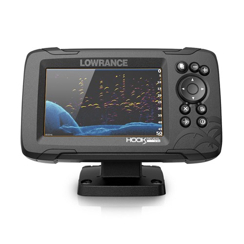 lowrance hook reveal 5 with splitshot transom mount and us can nav plus charts