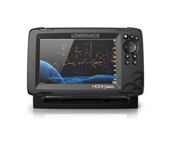 lowrance hook reveal 7 with splitshot transom mount and us can nav plus charts
