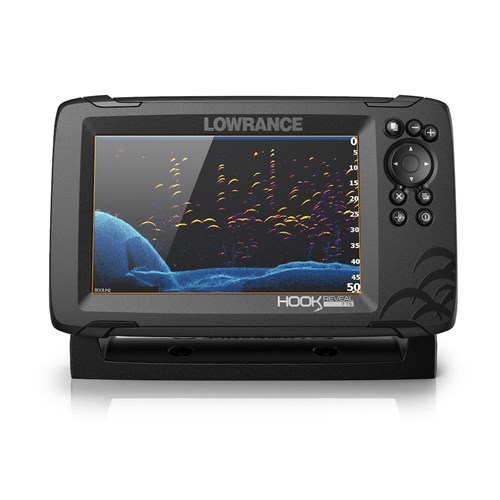 lowrance hook reveal 7 with tripleshot transom mount and us can nav plus charts
