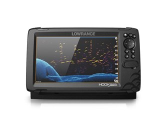 lowrance hook reveal 9 with 50/200 hdi transom mount and us can nav plus charts