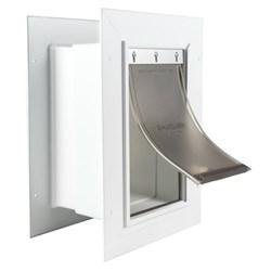 """<ul>  <li>Telescoping Tunnel</li>  <li><span class=""""redbold"""">Durable PVC Plastic Frame &amp; Flap</span></li>  <li>Wall Entry Benefits</li>  <li>Energy Efficient</li>  <li>Controlled Access</li>  <li>Do-It-Yourself Installation</li>  <li>Fits Walls From 4.75"""" to 7.25"""" Thick</li>  </ul>"""