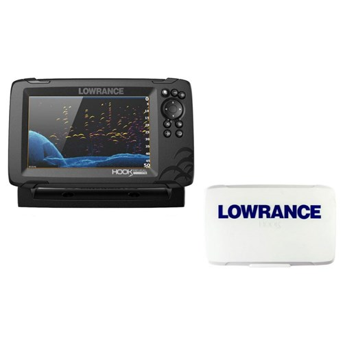 lowrance hook reveal 7 splitshot transom mount us/can nav charts with sun cover 000 15523 001 plus 000 14175 001