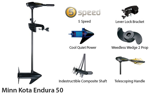 minn kota endura 50 50lbs thrust 36inch to 42inch shaft