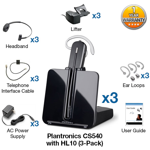 plantronics cs540 hl10 3 pack