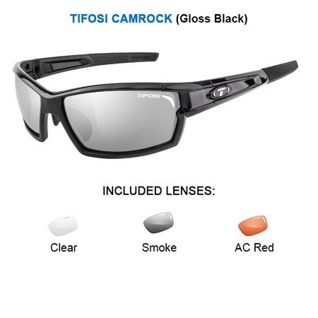 tifosi camrock gloss black with smoke ac red clear lenses